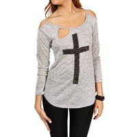 Gray Studded Cross Open Top
