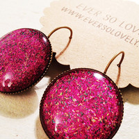 true love - pink starry night earrings -  sparkly iridescent handmade nickel free round brass drop earrings - summer nights and starry skies