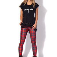 Tartan Red Leggings (Made to Order) | Black Milk Clothing