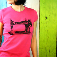 Sewing Machine screenprint  tshirt   Sew a GoGo  by MoxieMadness
