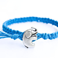 Elephant Hemp Bracelet Blue Friendship