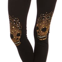 Gold Skull Knee Leggings Studs Happy Face Hair Fashion Trend Studded Stone Pants