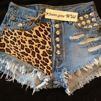 LEOPARD High waisted denim shorts super frayed by jeansgonewild
