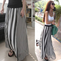 Casual Women Asymmetric Stripes Long Dress Full Length Maxi Chiffon Skirts