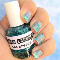 Sea Breeze :  Custom-Blended Glitter Nail Polish / Lacquer
