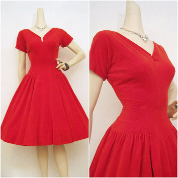 50s Dress Red Vintage Velvet Full Skirt Party by voguevintage