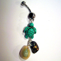 Belly Button Ring Barbell Turquoise Magnasite Turtle Shells Silver Tone Black Crystals