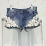 Denim stone washed and torn shorts with lace  [13]