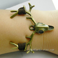 Christmas gifts Unisex simple fashion ancient bronze Sika deer  bracelet--Asagi brown wax rope braided leather bracelet