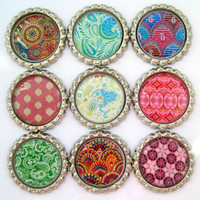 Bottle Cap Magnets - Bohemian Patterns - Set of 9 Flattened Bottle Cap Magnets