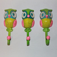 Wall Hook /Colorful Owl Hanger /Aqua Pink by AquaXpressions
