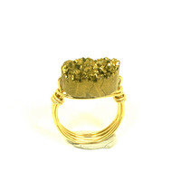 Gold Druzy Ring Oval Quartz Titanium Geode Bead Gold Plated Wire Wrapped Size 7 1/2