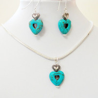 Mother's Day Gift Jewelry- Blue Turquoise Heart  Dangling Silver Snake Chain Necklace With Matching Heart Earrings