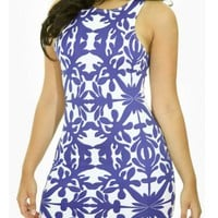 PRINTED DRESS - BLUE   Tanny&#x27;s Couture LLC