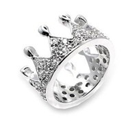 Princess Crown Rings - Fashion Silver Clear Cubic Zirconia Princess Crown Ring