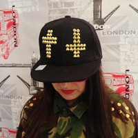 Vise Versa Crucifix Cap ReWorked with Gold studs UNISEX from APPRAISED