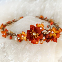 fall bridal hair circlet burnt orange flower hair by thehoneycomb