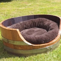 Premium Oak Barrell Dog Bed - From reconditioned wine barrels