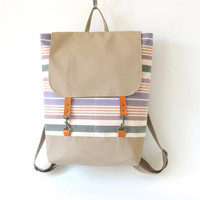 "Pastel stripe canvas Backpack / Laptop / School / Diaper bag / Leather closure, front pockets / 15"", Unique Design of BagyBag"