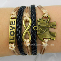 Bonze elephant,infinity karma and LOVE bracelet, wish bracelet, best gift.adjustable wheat wax rope and black leather braided bracelet