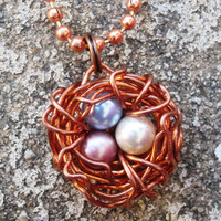 Wire Wrapped Copper Bird's Nest with by DesignByAnyOtherName