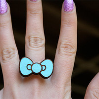 Custom Color Hello Kitty Bow Ring (laser cut wood)