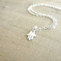 Tiny Silver Hamsa Necklace Sterling Silver Hamsa by Beazuness