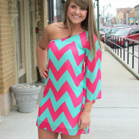 Fushia and Mint One-Shoulder Chevron Dress