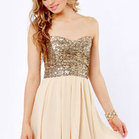 TFNC Emma Strapless Gold Sequin Dress