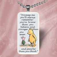 Winne the Pooh and Piglet Domino Pendant Necklace