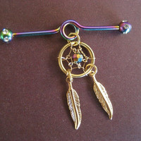 Golden Rainbow Dream Catcher Industrial Piercing Barbell Feather Charm Dangle 14g 14 G Gauge Bar