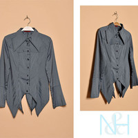 Vintage 1990s Black Button-Up with Pinstripes