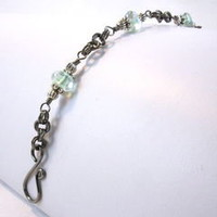 Green Glass Niobium Chainmaille Bracelet Handmade 7.5 inch