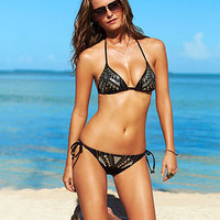 GUESS Swimsuit, Halter Studded Triangle Bikini Top & Studded Side-Tie Brief Bottom - Womens Swimwear - Macy's
