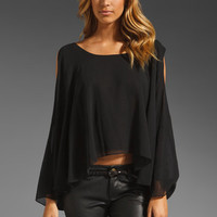 Jay Godfrey Belfour Silk Chiffon Open Shoulder Blouse in Black from REVOLVEclothing.com