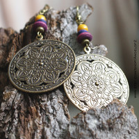 Colored Wood Bohemian Earrings - Mandala Metal Pendant