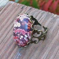 Bouquet Flower Jasper Cabochon Lace Filigree Ring   -  Adustable