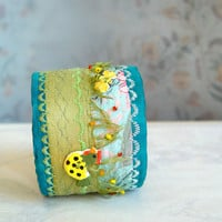 Embroidered spring silk bracelet by BozenaWojtaszek on Etsy
