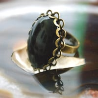 Onyx for Self-Control and Resilience  Adjustable Antiqued Style Ring