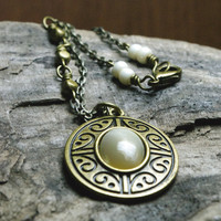 Mother of Pearl Cabochon Medallion Bronze Pendant Necklace