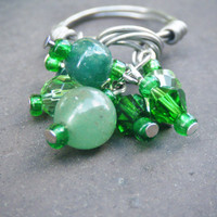 Emerald Green Beaded Wire Wrapped Ring - Made to Order