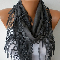 Gray Scarf  -  Pashmina Scarf  - Headband Necklace Cowl with Lace Edge/75994815