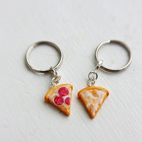 Pepperoni and Cheese Pizza Best Friends Keychains