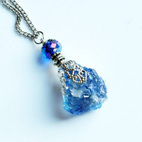SKY SPIRIT - Quartz Crystal Necklace // Blue Natural Metaphysical Spiritual Healing Properties
