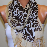 Leopard  Scarf -  Cotton Scarf Headband Necklace Cowl with  Lace Edge  Gift - Polka dot/75861724
