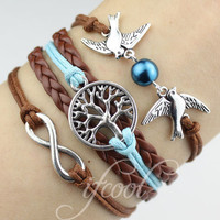 Infinity bracelet-Couple bird bracelet, wishing tree - a tree of life bracelet, infinity bracelet, color can be adjustable
