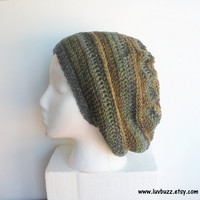 Earthy Crochet Slouch Hat in charcoal grey, green, brown, and beige stripes, ready to ship.