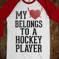 My Heart Belongs To a Hockey Player (Baseball Tee) - Sports Girl