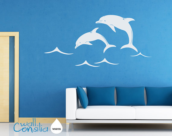 dolphins wall decal wall sticker large from wallconsilia dolphin wall sticker bathroom art vinyl decal transfer by