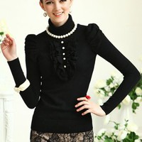 "Flouncing ""Fake Pearls"" Black Jumper, ocrun.com"